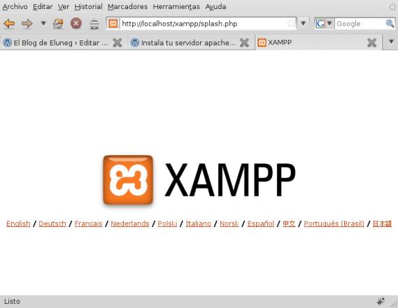 Página del servidor solicitando el idioma