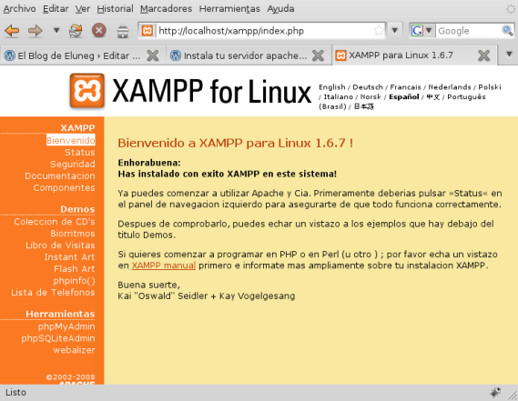 Página principal del servidor XAMPP
