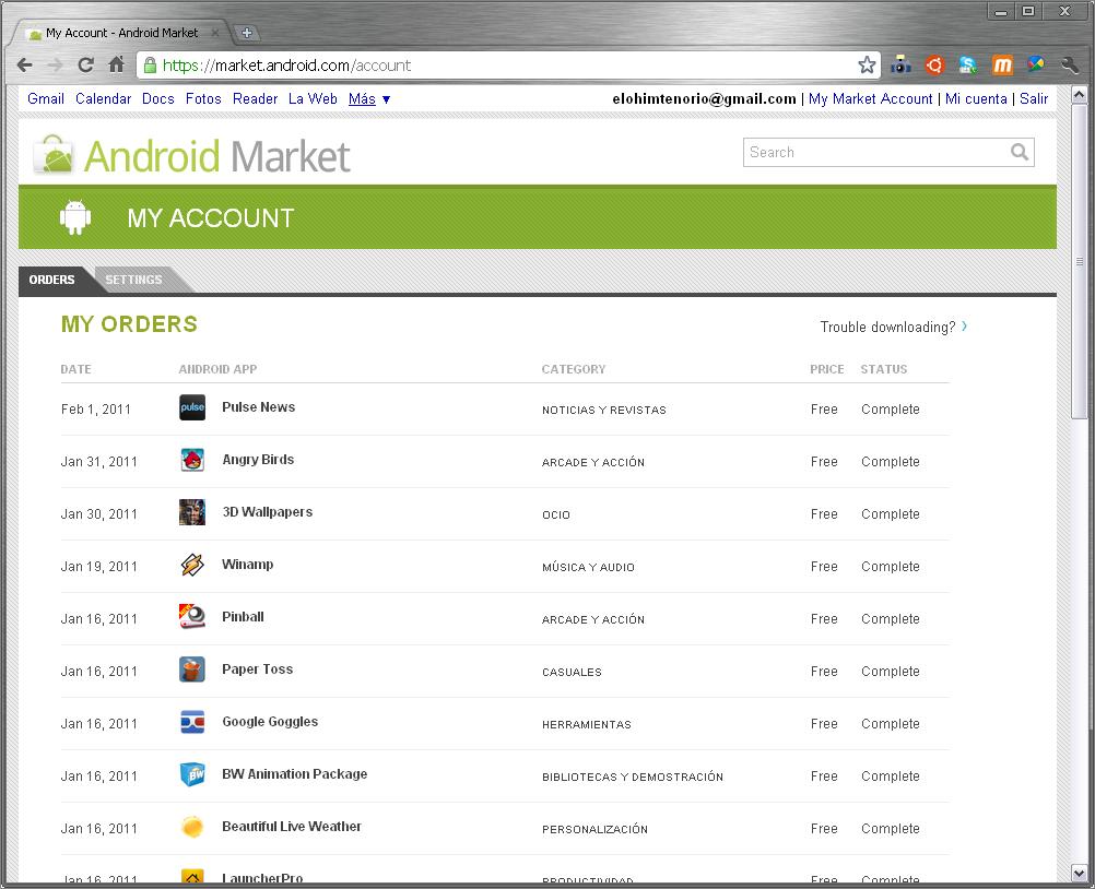 nuevo market de Android