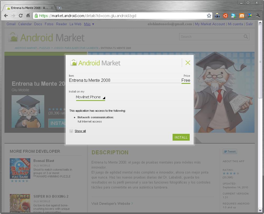 Instalando aplicacion desde el web Market Android